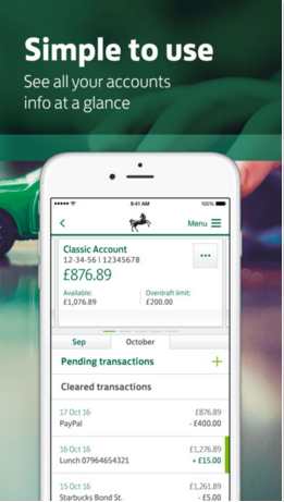 iPhone - Lloyd banking app