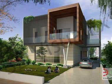 3D Exterior Visualization of Sahibabad Bungalow