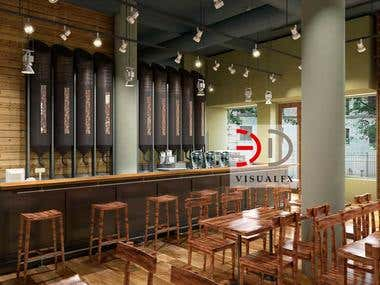 Cafe Brazilia Interior 3D Rendering