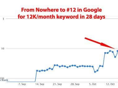From no where to 12th in Google in 28 days on 12k/m keywords
