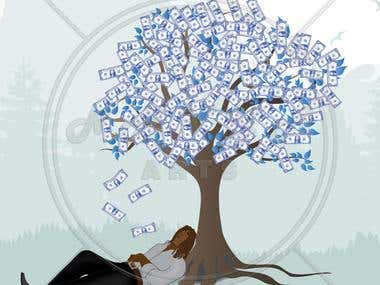 Guy sleeping under tree illustration.