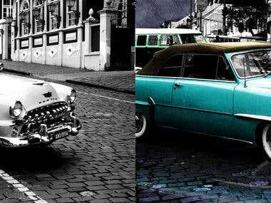 Colocando cor e efeito de chuva em uma foto antiga.