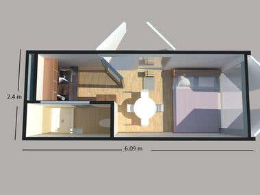 Container floor plan 3D drawing..