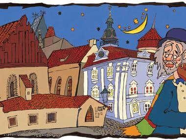 Old Prague. Violinist