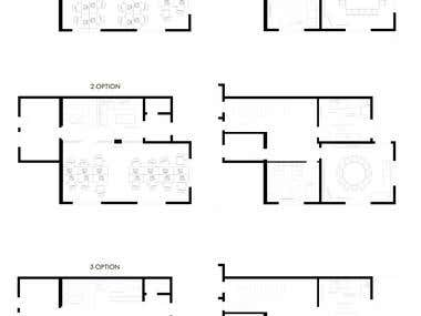 Interior design office, stage 1 (layout planning)