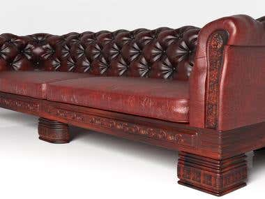 3D Model rendering Chesterfield Sofa