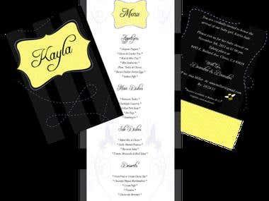 Baby Shower invitation and food menu