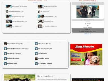 Web design for the pet related organization + control panel