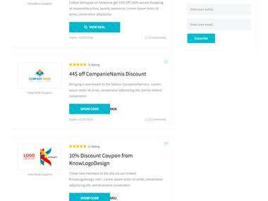 Your coupon wordpress + bootstrap design by us