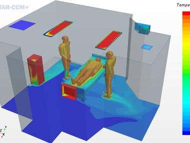 CFD analysis of airflow in operating room of a hospital.