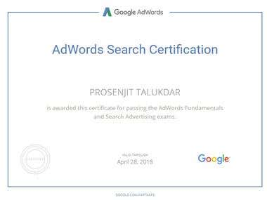 Google AdWords Search Advertising certification.