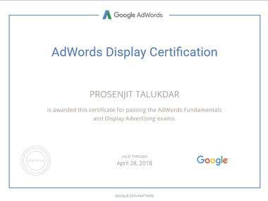 Google AdWords Display Advertising certification.