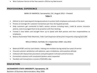 Bank Teller sample resume