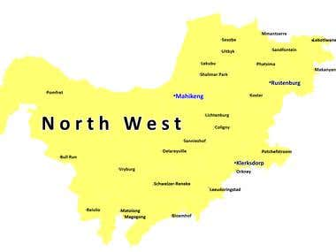 Map for North West (South Africa)