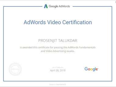 Google AdWords Video Advertising certification.
