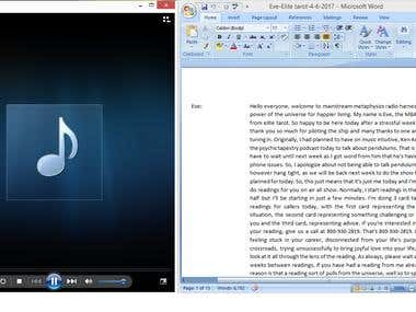 Transcription (Audio File ) to a Word Document Format