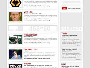 Website Design for fansonline.net sports portal