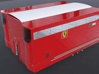 Ferarri technical truck 3d modeled + texturing + rendering