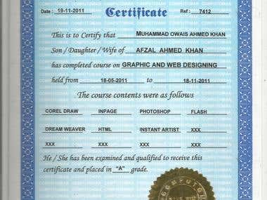 Graphics and web designing course