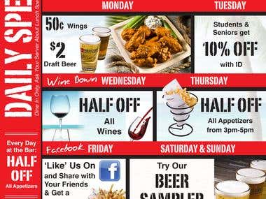 Hurricane Grill Daily Specials Ad/Menu