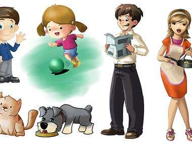 Various children book pages, character desings and covers