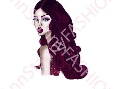 Fashion illustration made for beauty salon