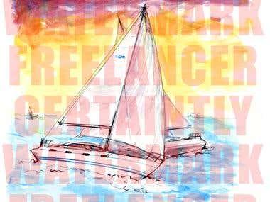 Sailing Watercolor T-shirt Illustration