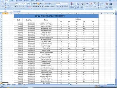 making a result sheet in MS excel