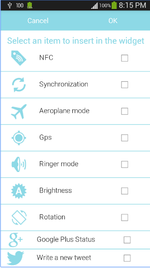 Settings Widget