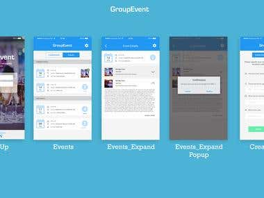 Mobile app UI Design (Group Events)