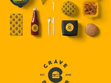 Crave burger identity and logo design