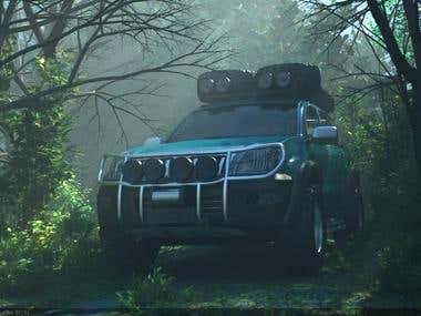 Truck in the woods.
