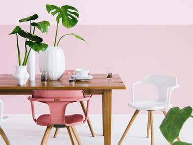 Pink Dining Room 3D Rendering