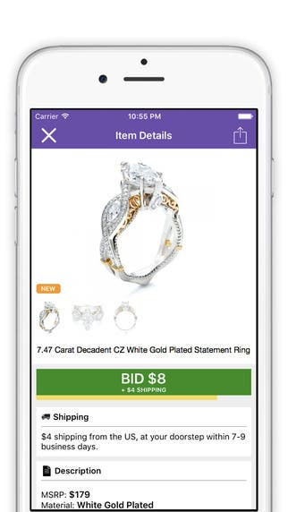 Attend live auctions and start shopping right away