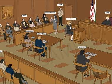 Court Room (Hand Drawing)