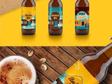 A series of labels for a craft brewery