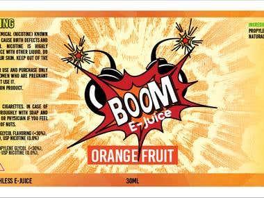 BOOM E-Juice Label Design