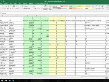 Filling in a spreadsheet with data