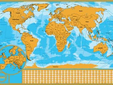 Scratch map of the world for travelers
