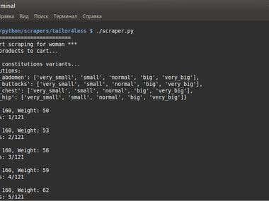 Python scraper for measurements calculator