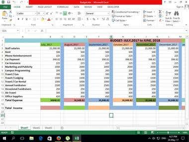 Make Company Monthly Expense Sheet.