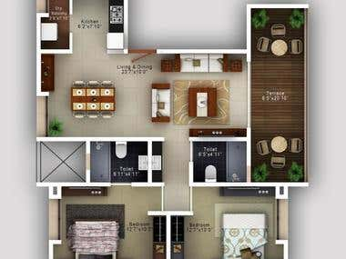 I will make 2D and 3D floor plan