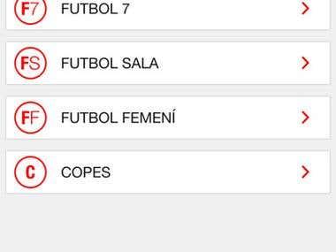 Mobile app of Catalan Football Federation (FCF)