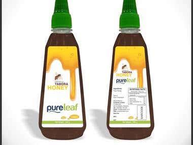 pure leaf tabor honey label packaging design