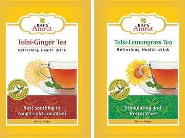 BAPS herbal tea pouch label design