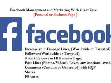 Facebook or FB Businesspage Management or Marketing