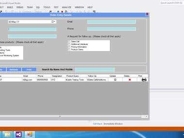 desktop application for inquiry record