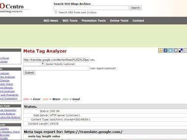 Meta tag analize