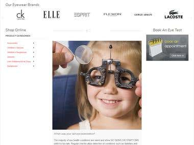 Spectacles ecommerce site
