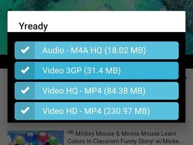 Yready YouTube downloader Android mobile app